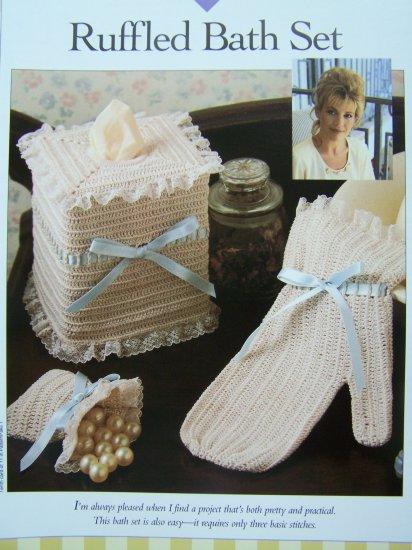 Crochet Patterns Ruffled Bath Set Mitt Glove Sachet Bag Tissue Cover USA 1 Cent S&H