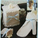Crochet Patterns Ruffled Bath Set Mitt Glove Sachet Bag Tissue Cover USA 1 Cent S&H
