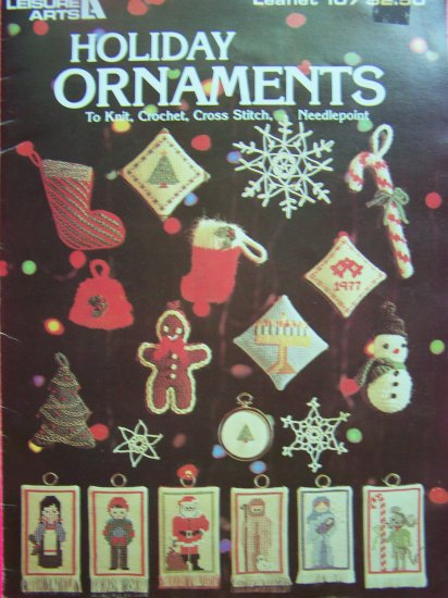 Vintage Christmas Holiday Ornaments Knit Crochet Cross Stitch Needlework Patterns