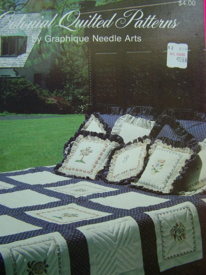 Vintage 1980s Colonial Quilted Patterns Book Quilt Pattern Dresden Log Cabin Star Floral