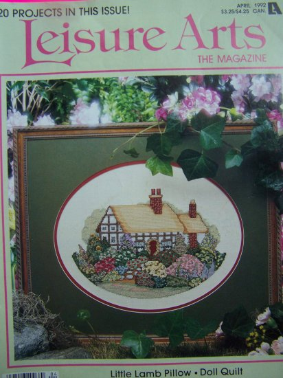 1990s Leisure Arts Craft Magazine Knitting Crochet Cross Stitch Quilting Pattern Book