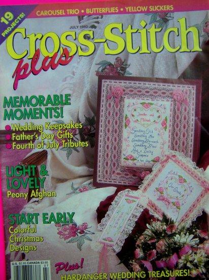 90's Cross Stitch Plus Pattern Book 19 Patterns Wedding Peony Afghan Christmas