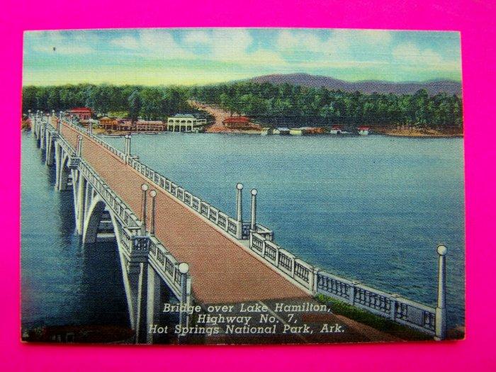 1940s Vintage Bridge over Lake Hamilton Highway 7 Hot Springs National Park Arkansas Postcard