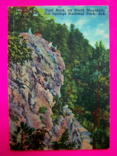 40s Goat Rock on North Mountain, Hot Springs National Park Ark Arkansas Landscape Postcard Photo