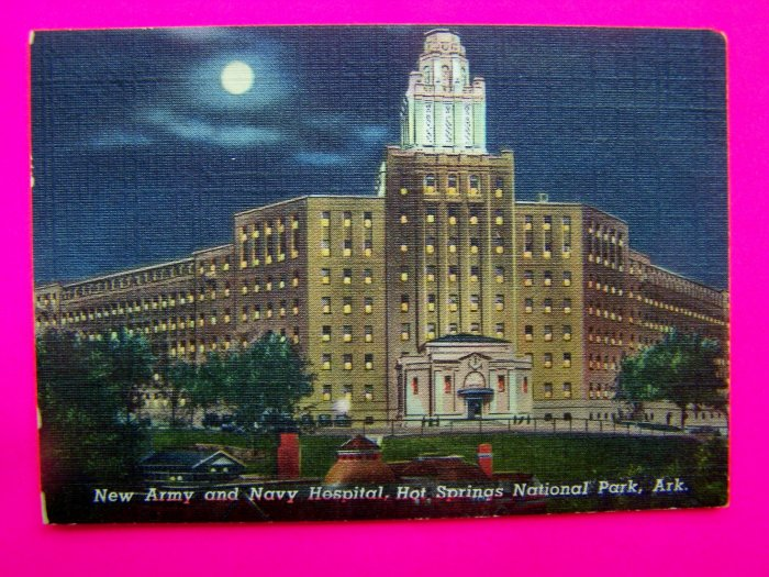 1940s New Army and Navy Hospital, Hot Springs National Park Arkansas Postcard Photo Linen?