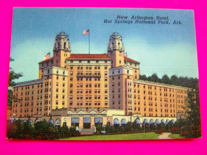 1940s Picture New Arlington Hotel Hot Springs National Park Arkansas Postcard Souvenir Card