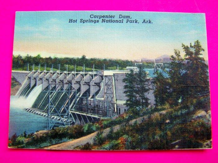 1940s Picture Carpenter Dam Hot Springs National Park Ark Linen Postcard Arkansas