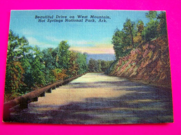 1940s Picture Street Scene On West Mountain Hot Springs National Park Arkansas Postcard AR