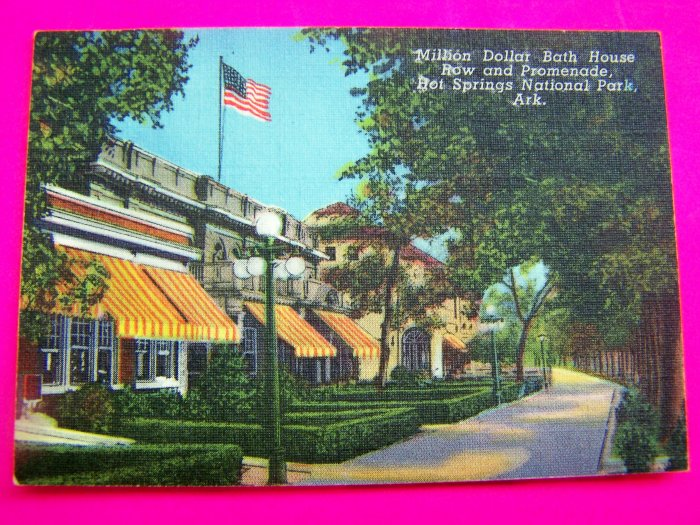 Vintage Million Dollar Bath House Row Promenade Hot Springs Arkansas Souvenir Postcard Picture Cards