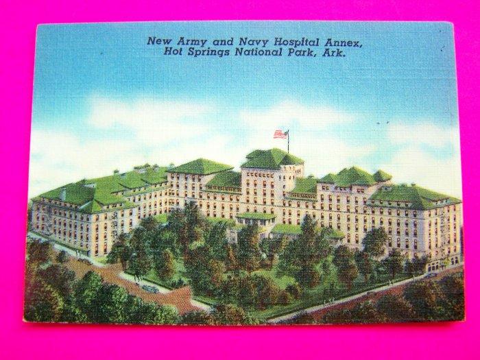 Vintage Linen Postcard New Army Navy Hospital Annex Building Hot Springs Arkansas Ark AR