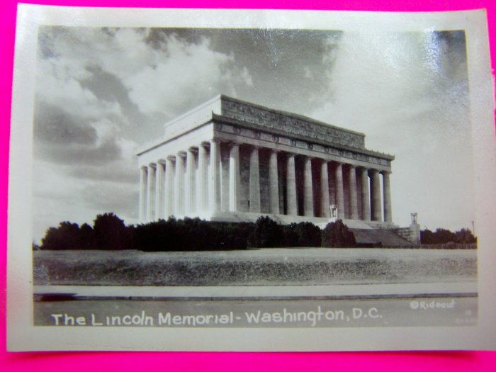 Vintage 1930s Photograph Lincoln Memorial Washington DC Rideout Black White Picture