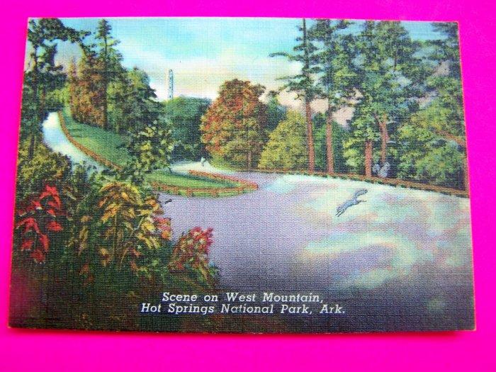Vintage 40s Linen Postcard Landscape scene on West Mountain Hot Springs National Park Arkansas.