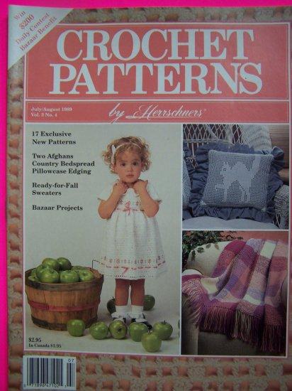 80s Vintage Herrschners Crochet Patterns Back Issue Magazine July August 1989