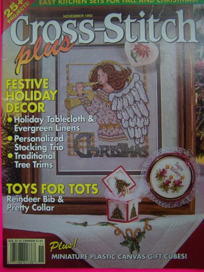 1990s Cross Stitch Plus Pattern Magazine Christmas Patterns Ornaments Stockings Holly Reindeer
