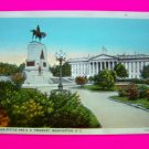 Vintage Postcard Sherman Statue and US Treasury Washington DC