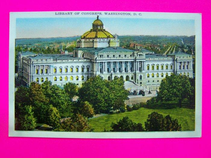 Vintage Postcard Unused Library of Congress Washington DC Colortone