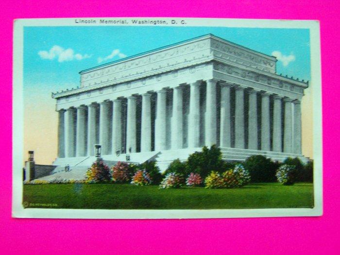 Vintage Postcard Lincoln Memorial Washington DC Historical USA Monument