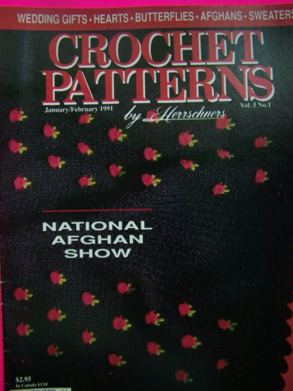 90s Herrschners Crochet Pattern Magazine Patterns book Afghan SHow Wedding Gifts $1 S&H