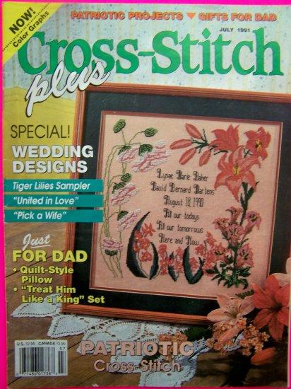 Cross Stitch Plus Pattern magazine Mixed Patterns July 1991 Back Issue