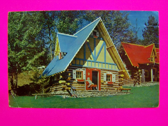 Vintage 1950s Glossy Postcard Santas House North Pole Santa at Home