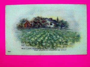 Vintage Postcard Thanksgiving Thoughtful Friend Thank You Card Old Antique Farm Landscape Scene