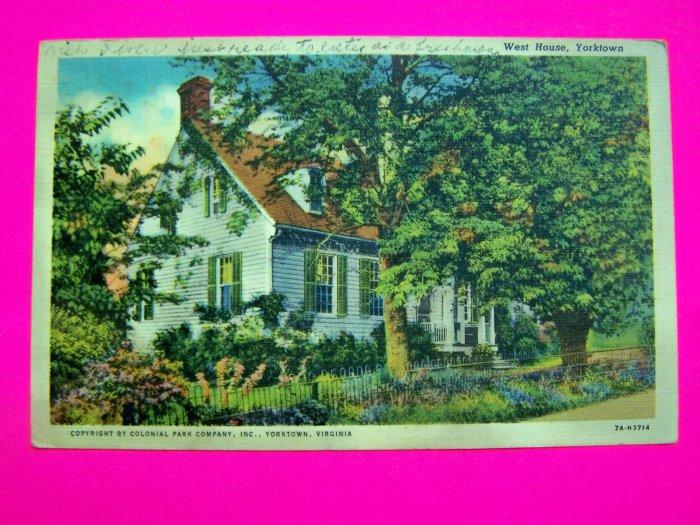 Vintage 40s Postcard West House Yorktown 1940 Antique