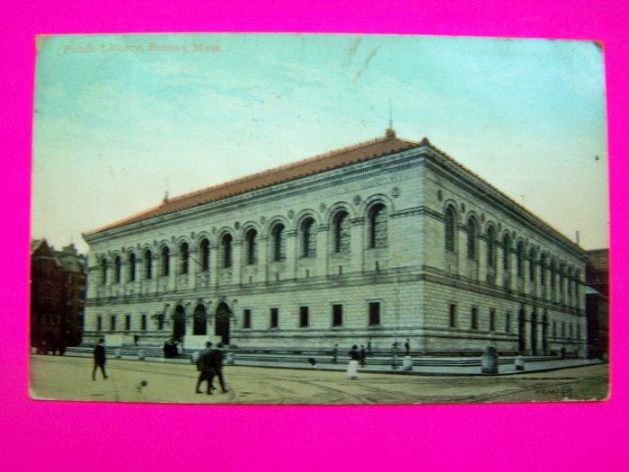 Antique 1910 Postcard Public Library Building Boston Mass Massachusetts USA