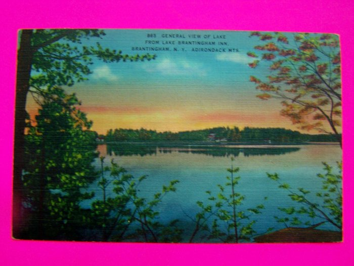1940s Linen Postcard View of Lake Brantingham Mountains NY New York Post Card