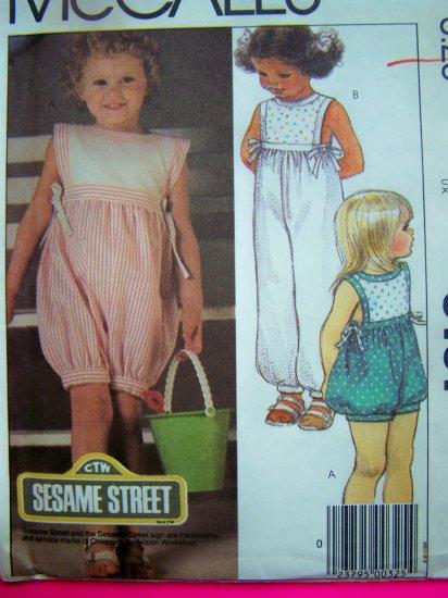 1980s Toddler Girls Romper Onesie Jumper Sesame Street Vintage Sewing Pattern 9101