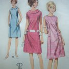 1960s Mod A Line Dress Scooped Neck Rolled Collar Vintage Sewing Pattern 4030