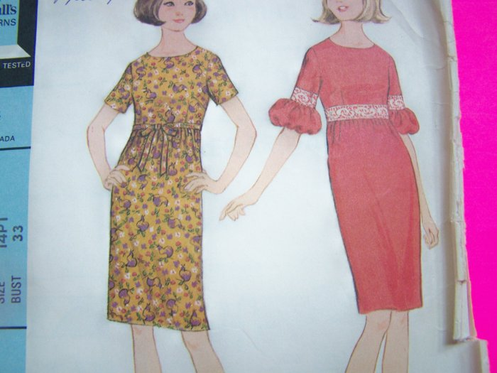 1960s Mod Dress Vintage Sewing Pattern High Empire Waist Puff Sleeve 8220