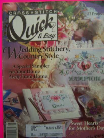 1990s Cross Stitch QUick & Easy Pattern Magazine 22 Patterns April May 1991