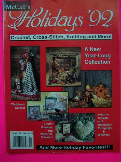 McCalls Holidays 92 Crochet Cross Stitch Knitting More Crafts Pattern Magazine Patterns