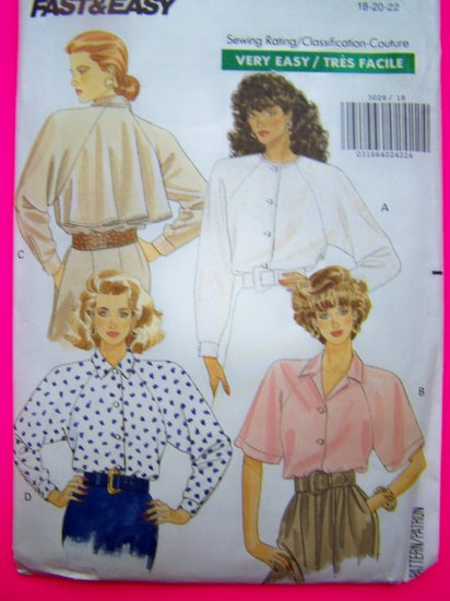 80s Vintage Loose Fit Shirt Jewel Neck Easy Sewing Pattern 3029 Plus Size 18 20 22