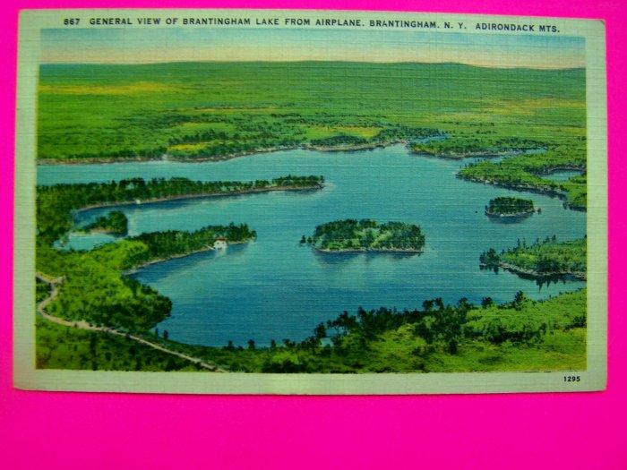 40s Antique Postcard Linen Scene Lake Brantingham New York Adirondack Mountains