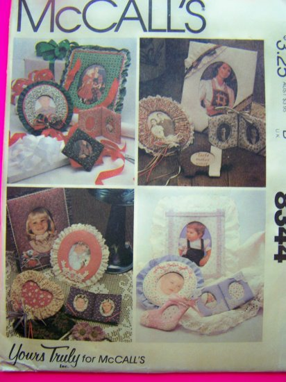 1980s Vintage Picture Frame Sewing Pattern Baby Country Christmas Victorian 8344