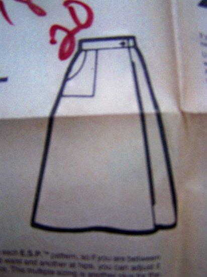 1970s Vintage Sewing Pattern Mock Wrap Skirt Hippie 16 18 20 Simplicity 8112
