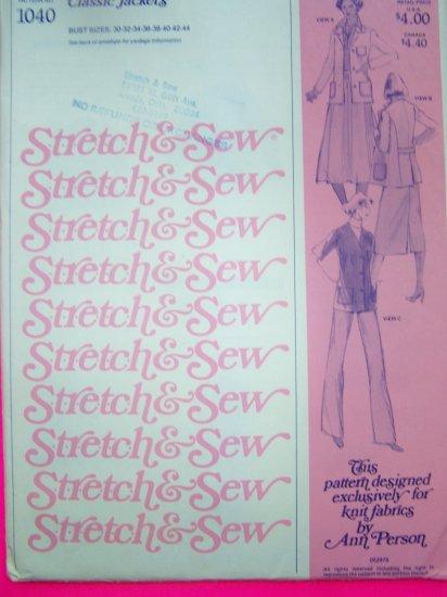 Vintage 70s Classic Jacket Blazer XS S M L XL XXL Sewing Pattern 1040