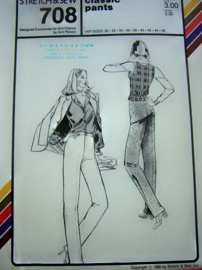 Vintage Misses 80s Straight Leg Dress Pants Slacks Trousers Sewing Pattern 708