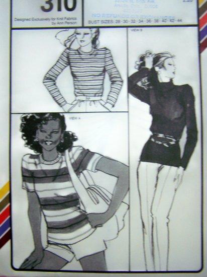 Misses T Shirt Crew Neck or Turtleneck Blouse Short or Long Sleeves Vintage Sewing Pattern 310