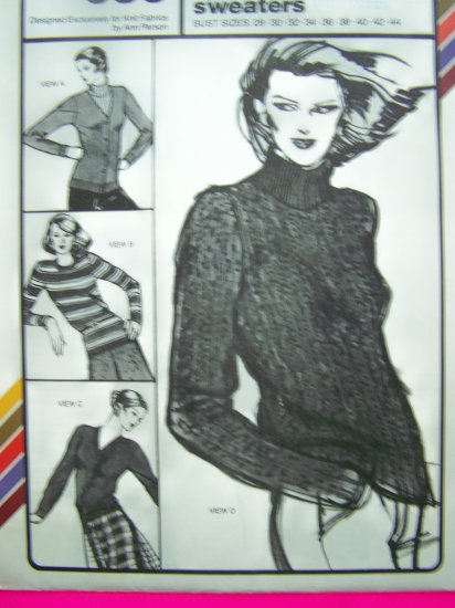 Vintage 70s Sewing Pattern Cardigan and Pullover Sweaters  V or Crew Neck Button Up Turtleneck 635