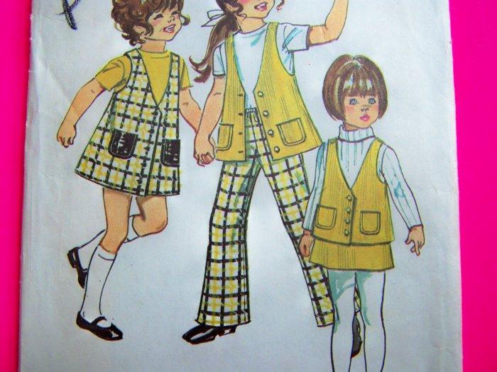 1970s Vintage Sewing Pattern Girls 4 Jumper Dress Vest Skirt Bell Bottom Pants 9476
