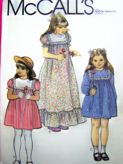 Vintage Sewing Pattern Girls 3 Toddler Prairie Tent Dress Ruffle Hem Puff Sleeves 7852