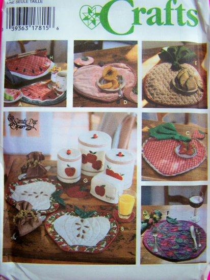 1990s Kitchen Crafts Sewing Pattern Fruit Place Mats Casserole Carrier 9484