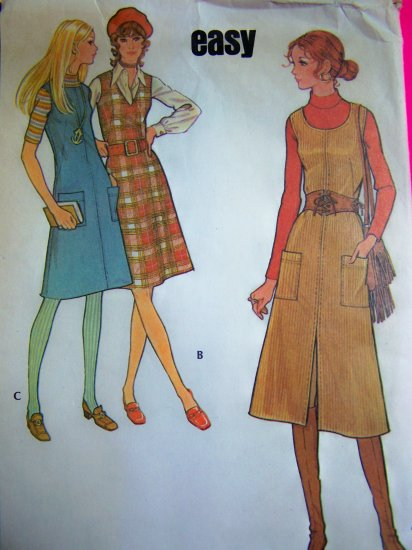 Vintage 70s Jumper Dress Sundress V Scoop Round Neckline B 36 Easy Sewing Pattern 2901