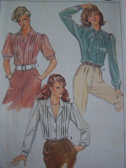 1980s Set of Blouses Tucked Front Button Up Dress Shirts Vintage Sewing Pattern 6951