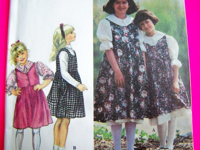 Girls Sewing Pattern Jumper Dress Puff Sleeve Shirt Petticoat 9237