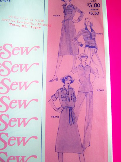 70s Vintage Tab Front Dress or Tunic Top Shirt Sewing Pattern 1560 Sz XS S M L XL