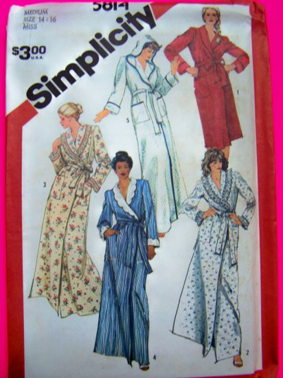 1980s Vintage Wrap Robe Shawl Collar or Hooded 2 Lengths Medium Sewing Pattern 5814