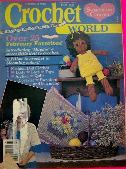 Vintage Crochet World Pattern Magazine 25 + Crocheting Patterns 1988 International Dolls